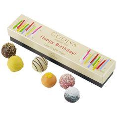 Godiva Chocolatier Happy Birthday Cake Truffle Flight in Box, 6 Pieces Happy Birthday Gifts, 17th Birthday, Birthday Box, Birthday Treats, Chocolate Lava Cake, Chocolate Box, Lemon Chiffon Cake, Godiva Chocolatier, Cake Truffles