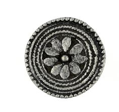 Roped Flower Carving Antique Silver Metal Shank Buttons - 16mm - 5/8 inch