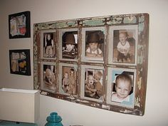 I love this rustic barn window converted into a photo frame!