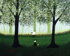 Border Collie Dog Folk art PRINT by Todd Young painting GREEN FOREST - love his work!