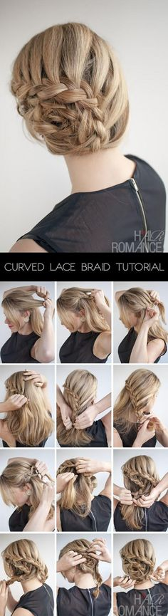 Curved lace braid hair style tutorial - step by step how to guide