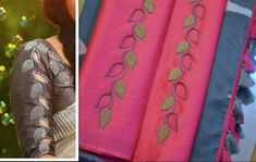 15 New sleeve designs to try with kurtis and blouse - Kurti Blouse Cotton Saree Blouse Designs, Saree Blouse Patterns, Designer Blouse Patterns, Bridal Blouse Designs, Embroidery On Kurtis, Kurti Embroidery Design, Hand Work Embroidery, Embroidery Patterns, Cut Work Blouse