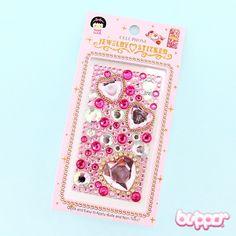 Jewel Heart Crystal Seal Phone Sticker - Pink