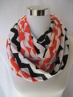 2 pack lot Orange and Black Chevron Infinity Scarves - School Team Colors - Oregon State Beavers - ChevronScarf