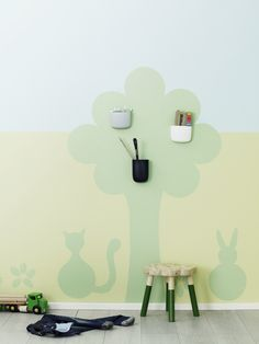 Fun shapes can be created by using stencils perfect for a kids room