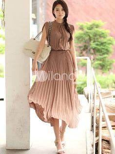 Elegant Brown Pleated Sleeveless Silk Like Women's Maxi Dress @ Milanoo    http://intercontinentalapparel.blogspot.com