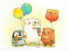 ✨waiting for the bus Cute Bear Drawings, Kawaii Drawings, Cartoon Drawings, Animal Drawings, Kawaii Doodles, Kawaii Art, Kawaii Illustration, Bear Art, Cute Bears