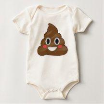 Super Pooper Emoji Poo Organic Baby Suit Romper