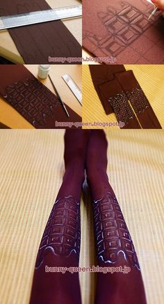 My new handmade chocolate tights :)  I love chocolate lolita outfits, but socks and accessories with chocolate themes are really expensive for me, so I paint  my owns tights n_n I use fabric paint, they are washable and durable :P  Can`t wait for use them in my handmade choco outfit!!!