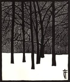 """Printmaking, """"Jardin d'hiver - Original linocut / Winter / Trees / Snow / Forest - Limited Edition 2 of Géraldine Theurot; Printmaking, """"Jardin d'hiver - Original linocut / Winter / Trees / Snow / Forest - Limited Edition 2 of Gravure Illustration, Illustration Art, Linocut Prints, Art Prints, Snow Forest, Linoprint, Winter Trees, Art Graphique, Wood Engraving"""