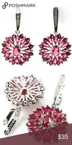Raspberry Rhodolite Garnet, White CZ/Silv Earrings Pink Raspberry Rhodolite Garnet, White CZ Ladies Party Silver Earrings.  Face Width:35x20 mm  Gemstone size:6x4 mm  Clarity: IF to  Treatment: Heated and Filled   Unit of item 1 Piece   Others: Elegant, simply and beautiful!!   Luster: Attractive Jewelry Earrings