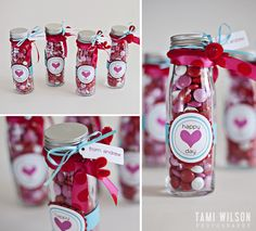 "empty glass bottles filled with cute little Valentine themed M&M's.   wrapped and glued a 3/4 inch strip of blue card stock around the middle and attached  ""Happy Heart Day"" label to the front.  Then  tied a couple pretty ribbons  and red pipe cleaner to the mouth of the bottle and attached a ""from"" tag and that's it!  Note:  to make the pipe cleaner curly you just wrap the ends around a pencil."