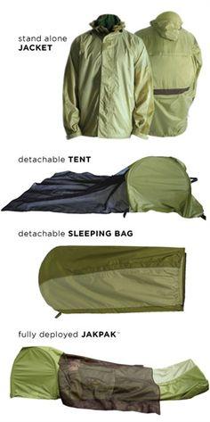JakPak jacket/sleeping bag/tent.  Yeah