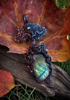 Elemental tree necklace  tree of life  polymer by EarthaCreations
