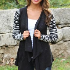 SHIPS NOW! Waterfall cardigan black tribal print Gorgeous cardigan in xs s or m ships now Sweaters Cardigans