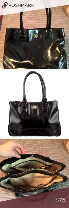 Black patent Tory Burch Robinson tote Shows scratching/markings and and wear on front and back. Inside pretty clean. Tory Burch Bags Shoulder Bags