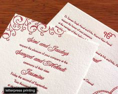 Jessica Letterpress or Digital Wedding Invitations - Set of 100
