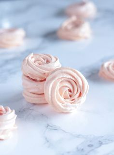 Valentine's Day is coming up and these Rose Meringues would be perfect! Delicately flavored with rosewater and tinted a pale blush pink- they're almost too pretty to eat!