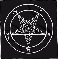 "Satanic Sigil of Baphomet 24"" x 24"" black/white Altar Cloth Banner"