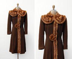 vintage 1940s coat / 1940s wool coat / 40s fur coat by cutxpaste