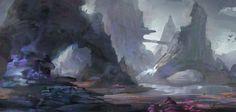 The purple landscape, jeremy chong on ArtStation at https://www.artstation.com/artwork/Vn2P