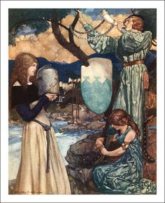 """Illustration from """"Le morte d'Arthur - the book of King Arthur and of his noble knights of the round table, volume I' by Sir Thomas Malory, Knt; illustrated by William Russell Flint. Published by Philip Lee Warner King Arthur Legend, Legend Of King, Illustrations, Illustration Art, Courtly Love, Mists Of Avalon, Medieval, William Russell, Noble Knight"""