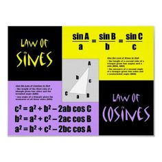 Laws of Sines and Cosines Posters from http://www.zazzle.com/trigonometry+posters