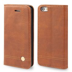 Amazon.com: iPhone SE Case,AOFU [Ultra Slim] iPhone 5S Leather Wallet Case Flip Book Design with Stand & ID Card Holder Slots,Magnetic Closure for iPhone 5/5S/SE-Dark Brown: Cell Phones & Accessories