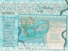 Mascarada mascarada invitación, invitación fiesta, invitaciones fiestas, fiesta de Mardi Gras por BellaLuElla