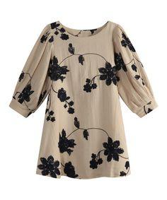 Look at this #zulilyfind! Beige Floral Embroidered Dress - Toddler & Girls #zulilyfinds