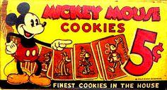 Mickey Mouse cookies vintage sign :) Vintage Candy, Vintage Box, Vintage Signs, Mickey Mouse Toys, Mickey Mouse Cookies, Disney Kitchen, Disney World Parks, Vintage Disney, Disney Pictures