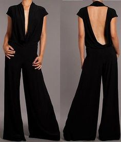 BLACK OR WHITE JUMPSUIT Wide Leg Long Pants Plunging Neckline Sexy Sleeveless
