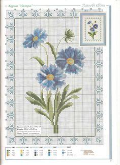 Blue Flowers Cross Stitch Pattern free