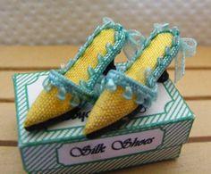 Dolls House Miniature Yellow Silk Slipper Shoes by OdinsMiniatures Diy Dollhouse, Dollhouse Miniatures, Barbie Shoes, How To Make Shoes, Doll Clothes, Slippers, Pure Products, Silk, Dolls