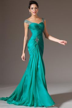 Wholesale Sexy V-neck Design Mermaid Floor Length Wedding Events Prom Dresses Turquoise Chiffon Bridesmaid Beaded Sequins Charming Evening Online with $82.69/Piece on Orient2012's Store | DHgate.com