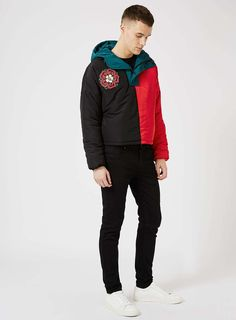 TOPMAN DESIGN Color Block Puffer Jacket