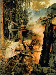 dudeltopf:  Sammon taonta (Forging of the Sampo) by Akseli Gallen-Kallela (1865 – 1931). 1893. Oil on canvas. 152 × 200cm. Ateneum Art Muse...