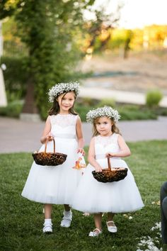 Sweet dresses and baby's breath crowns: http://www.stylemepretty.com/california-weddings/2015/03/04/rustic-chic-wedding-at-the-martinelli-center/ | Photography: Jasmine Lee - http://www.jasmineleephotography.com/