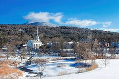 Stowe Village, Vermont by William Alexander Woodstock Vermont, South Hero, Web Design Company, Winter Scenes, Over The Years, World, Artist, Outdoor, Stowe Vermont
