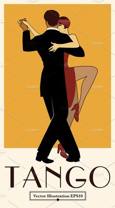Tango Poster Retro Style by La Inspiratriz on @creativemarket