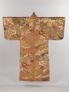 Noh Costume (Karaori) with Court Carriages and Cherry Blossoms.  Period: Edo period (1615–1868). Date: first half of the 19th century. Culture: Japan. Medium: Brocaded twill-weave silk with supplementary-weft patterning in metallic thread. Dimensions: Overall: 68 x 57 1/2 in. (172.7 x 146.1 cm).