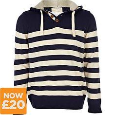 blue stripe hooded jumper - jumpers - jumpers / cardigans - men - River Island
