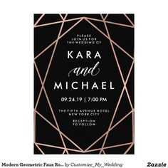 Modern Geometric Faux Rose Gold on Black Wedding Invitation