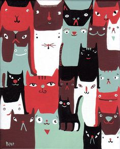 https://flic.kr/p/8d5F6T | 24 cats | Yessiree, this is a very orderly smattering of cats...these cats are in harmony with themselves and they will be in harmony wherever they go...I will go so far as to say they will bring harmony WITH them and spread it about freely like they would spread strawberry jam on wonder bread if they liked that sort of thing...yes, harmony, cats, 24..