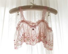 72d4f66ff4fdc Baby Pink Embroidery Lace Sheer Crop Top Pink Bow Heart Lingerie Camisole  Cami Bendeau