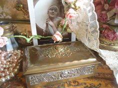 Antique Ornate Rose Decorated Brass Trinket Box