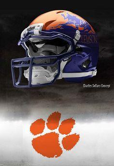 clemson football helmet  ~ Purple and Orange