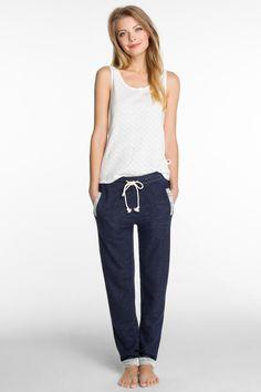 Esprit - mottled cotton sweat tracksuit bottoms at our Online Shop