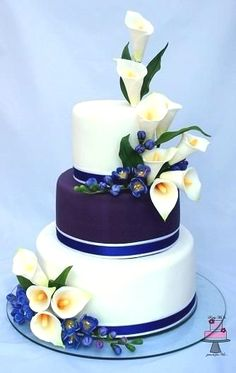 3 tiered cake design,calla lily and freesia - Beautiful Wedding Cakes, Gorgeous Cakes, Pretty Cakes, Cute Cakes, Amazing Cakes, Elegant Cakes, Wedding Cake Designs, Fancy Cakes, Love Cake
