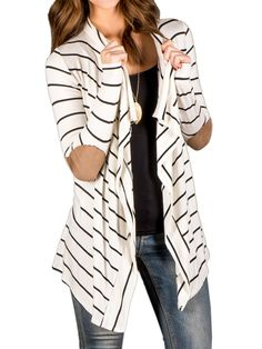 Choies Women's Cotton Stripes Fall Cardigan Sweater With PU Elbow Water XL